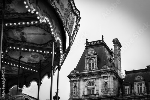 Vintage landscape in black and white of the Carrousel of the Place of the Hotel de Ville in Paris - Paris, France