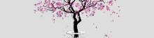 Spring Landscape With Abstract Blooming Tree. Spring Horizontal Banner With Place For Inscription. Watercolor Imitation. Cherry Tree Or Peach Tree Isolated On Grey Background. Vector, EPS 10