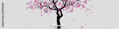 Foto op Plexiglas Spring landscape with abstract blooming tree. Spring horizontal banner with place for inscription. Watercolor imitation. Cherry tree or peach tree isolated on grey background. Vector, EPS 10