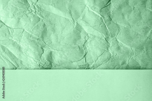 Valokuva  Crumpled and plain paper sheets divided creating line partition