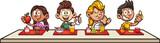 Kreskówka dzieci jeść śniadanie w szkole clipart. Ilustracja wektorowa z prostymi gradientami. Niektóre elementy na osobnych warstwach.
