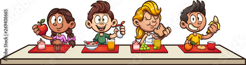 Cartoon kids eating breakfast at school clip art. Vector illustration with simple gradients. Some elements on separate layers.
