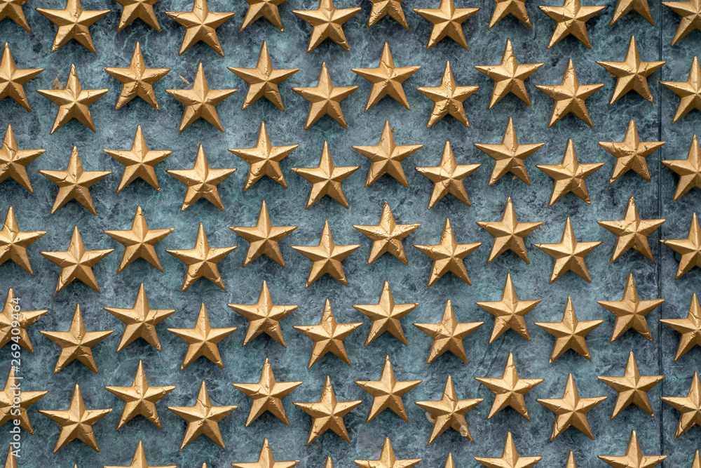 Fototapeta Stars of freedom on the wall at the World War II Memorial in Washington DC