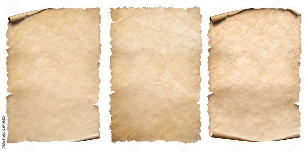 Fototapety, obrazy: Vintage paper or parchments collection isolated on white