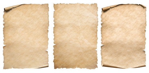 Vintage paper or parchments collection isolated on white