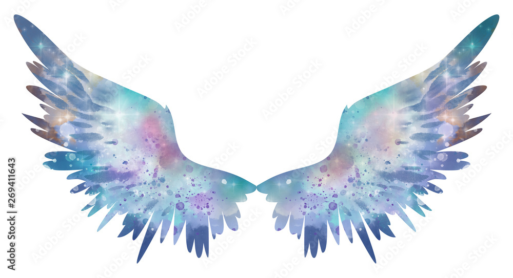 Fototapety, obrazy: Blue watercolor wings, symbol of freedom