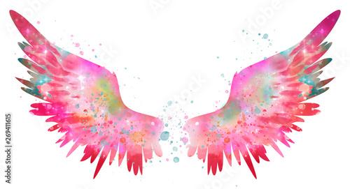 Foto  magic pink spreaded watercolor wings