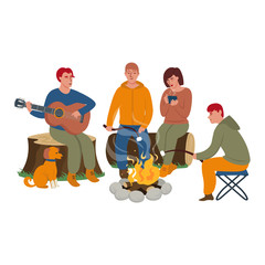 Tourists around the campfire. Tourists are playing the guitar, drinking hot tea and roasting marshmallows. Flat vector illustration in cartoon style.