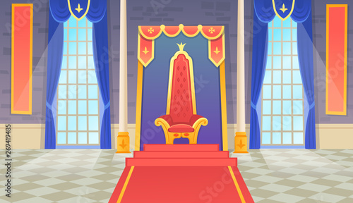 Foto Vector castle hall with a king throne and windows
