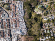 canvas print picture - Aerial overhead township and middle class houses in South Africa