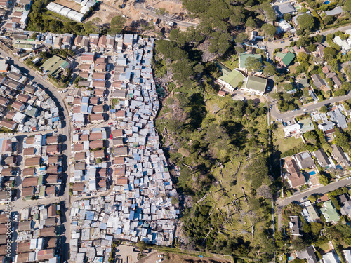 Valokuvatapetti Aerial overhead township and middle class houses in South Africa