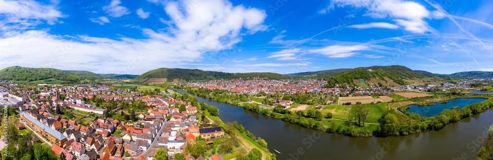 Fototapety, obrazy: Aerial view, view of Kleinheubach and Großheubach, Miltenberg am Main, Lower Franconia, Bavaria, Germany