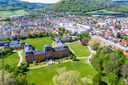 Obraz Aerial view, view of Kleinheubach and Großheubach with castle Löwenstein, Miltenberg am Main, Lower Franconia, Bavaria, Germany - fototapety do salonu
