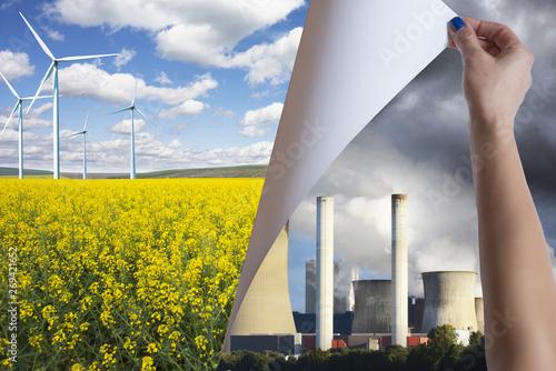 Montage in der Fensternische Lachs Pollution versus green environment renewable energy concept