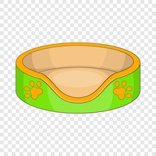 Cat Basket Bed Icon. Cartoon Illustration Of Cat Basket Bed Vector Icon For Web Design