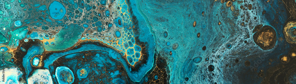 Abstract marbleized effect background. Blue creative colors. Beautiful paint with the addition of gold