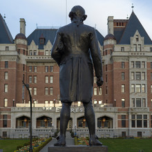 Statue Of Captain James Cook In Front Of Fairmont Empress Hotel, Vancouver Island, Victoria, British Columbia, Canada