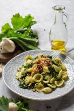 """Italian First Course - Pasta """"Orecchiette Con Le Cime Di Rapa E Le Acciughe"""" Popular In Southern Italy, Typical Of Apulia. Made With Rapini And Anchovy."""