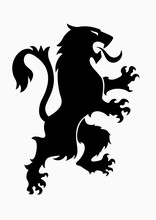 Heraldic Rampant Lion Black Si...