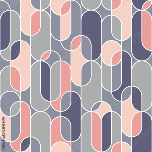 Photo Oval shape eamless pattern in retro style