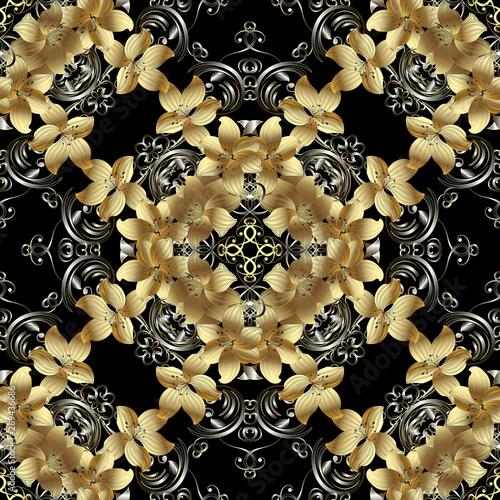 3d golden flowers seamless pattern  Floral background  Vintage 3d