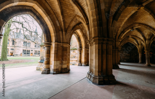 Poster Con. Antique The Cloisters (also known as The Undercroft) - iconic part of the University of Glasgow main biulding in Glasgow, Scotland, United Kingdom.