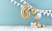 Happy 6th Birthday Party Celebration Balloon, Bunting And Gift Box. 3D Render