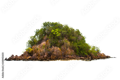 Photo Stands Bonsai Separate the islands in the sea on a white background. Pig Island Room, Krabi Province