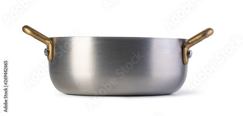 Valokuvatapetti Stainless pan on white