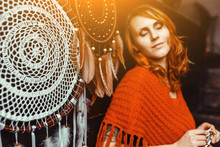 Woman Making Dream Catchers By...