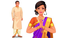 Illustration Of Indian Couple In Indian Traditional Dress
