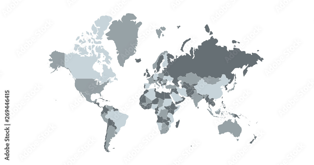 Fototapety, obrazy: World map vector, isolated on white background. Can be used for anual report, inphographics. High Detailed Countries with borders.