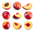 Fresh peach fruits isolated Clipping Path