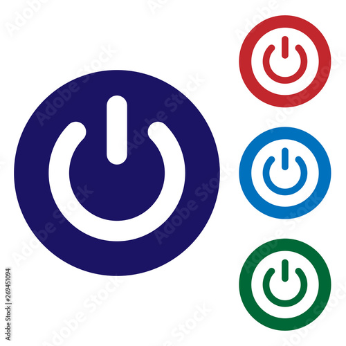 Fényképezés  Blue Power button icon isolated on white background