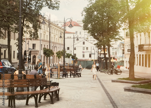 Photo sur Toile Europe Centrale The main street of the city of Minsk , Belorus on a sunny day. Summer day landscape 2019