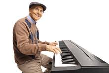 Cheerful Senior Man Playing A ...