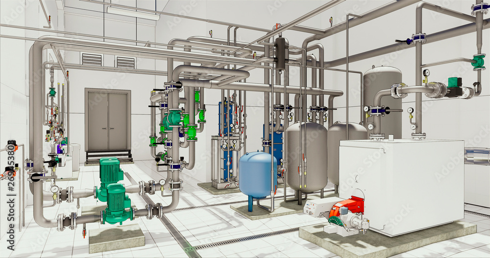 Fototapety, obrazy: Conceptual visualization of driwing style of utilities at BIM technology