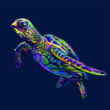 Sea Turtle. Abstract, Artistic, Neon Drawing Of A Sea Turtle On A Dark Blue Background.