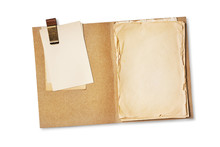 Folder With Old Yellowed Paper And Mockup Vintage Cards