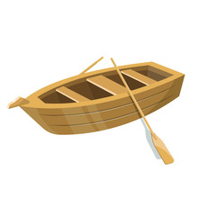 Wooden Small Boat With Paddles...