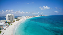 Aerial View Of A Wonderful Tropical Exotic Caribbean Beach In Cancun, Mexico