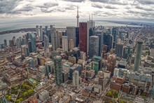 Aerial View Of Toronto Skyline From Tour Plane In Early Summer