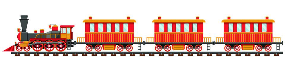 Vintage vlak na ilustraciji dizajna željezničke pruge izolirane na bijeloj pozadini