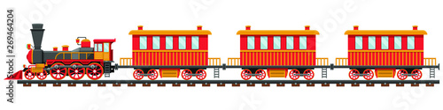 Cuadros en Lienzo Vintage train on railroad vector design illustration isolated on white backgroun