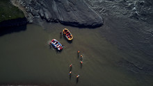 Top View Of Rafting People In Boats On The River