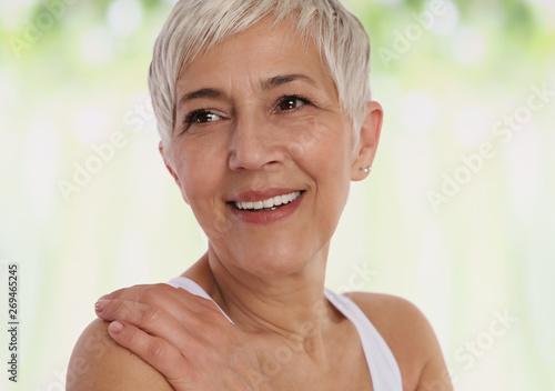 Fotografie, Obraz  Smiling Mature Woman Portrait