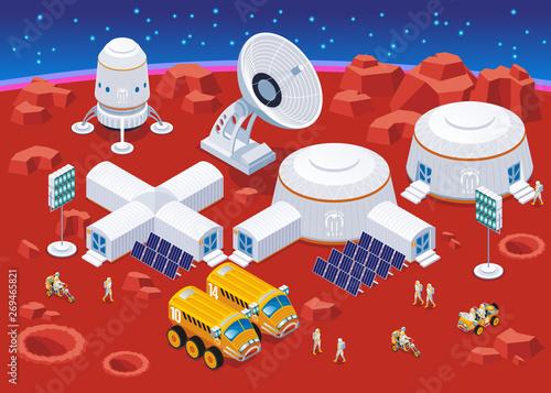 Vászonkép Mars colonization  isometric composition