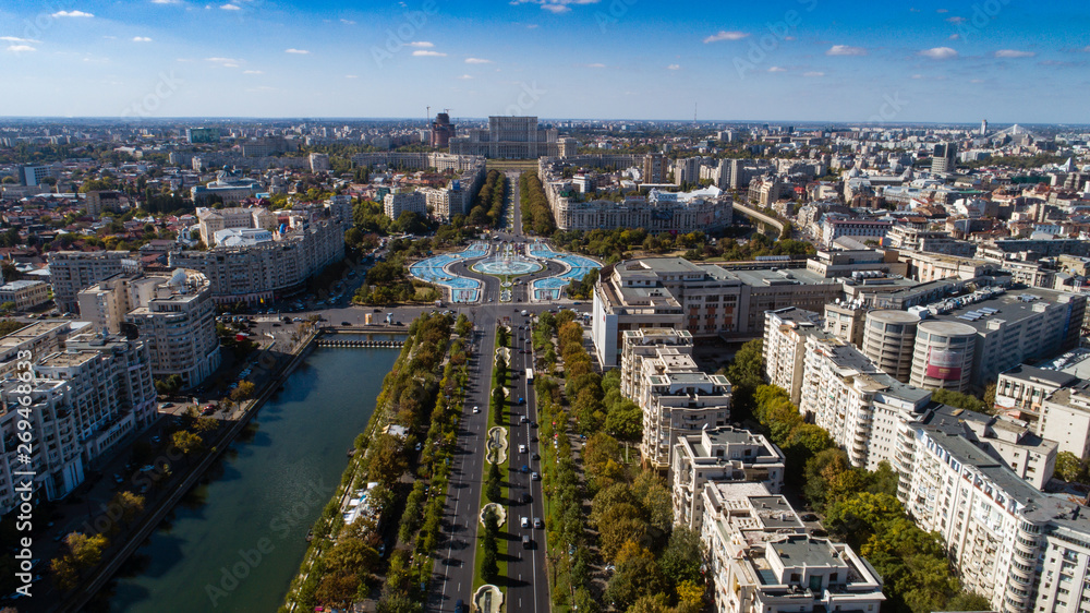 Fototapety, obrazy: Aerial footage of Bucharest downtown