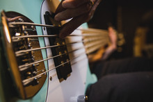 Closeup On The Bass Guitar Str...