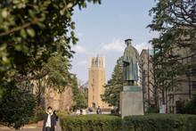 Waseda, Tokyo, Japan, 03/23/2019 , Statue Of Ōkuma Shighenobu,  Founder Of Waseda University.